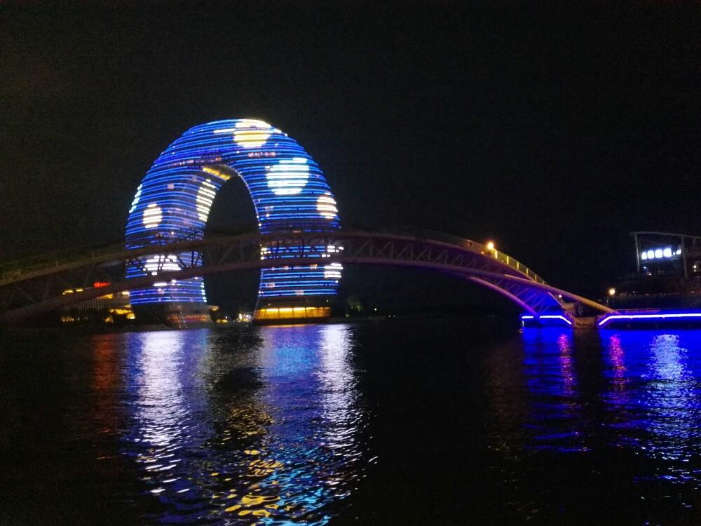 湖州夜景(月亮酒店和小梅大桥)