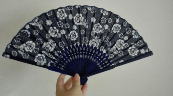 蓝印花布花纹图案扇子