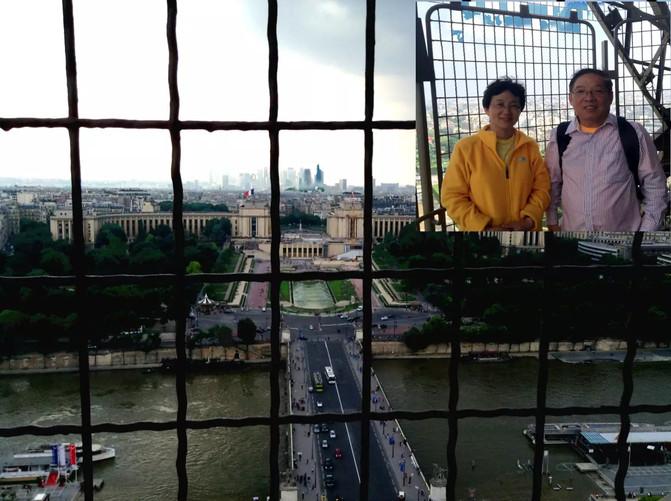 欧洲杯后天开始,这里是重要的活动区,当晚举行欧洲杯前的歌星演唱会。为了安全,铁塔区公交车改道,地铁站封闭。在欧洲杯期间,要接近或离开铁塔,变得比较困难! 我们离开铁塔,在夕阳下,沿着塞纳河步行了一站,才能乘坐上公交。