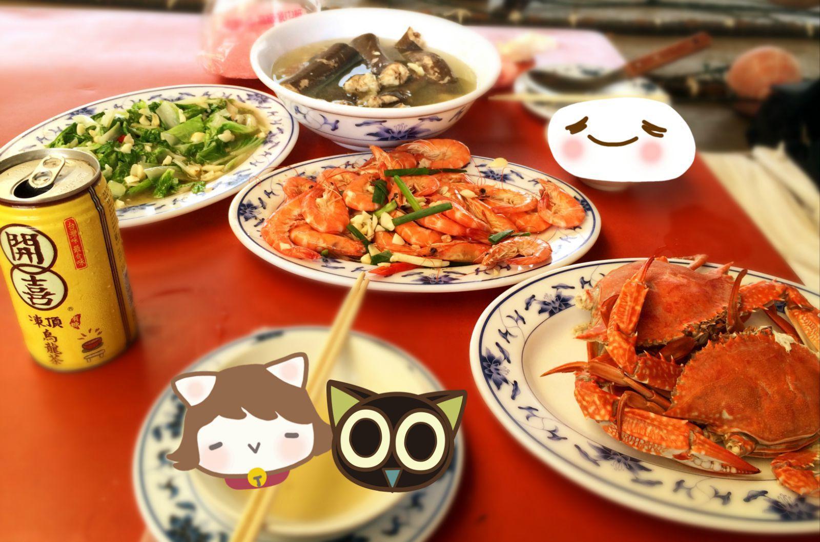 自己刚刚买来的海鲜,就变成了一桌美味,真的太幸福了