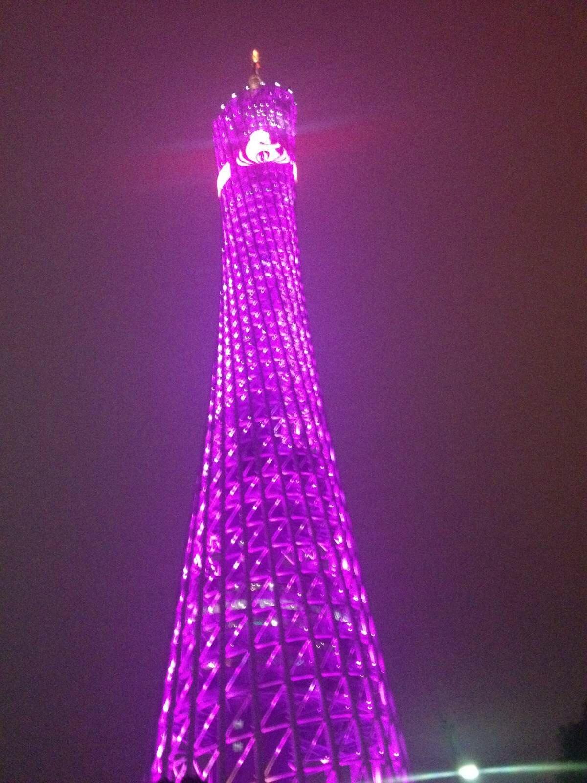 灯光秀. 广州塔