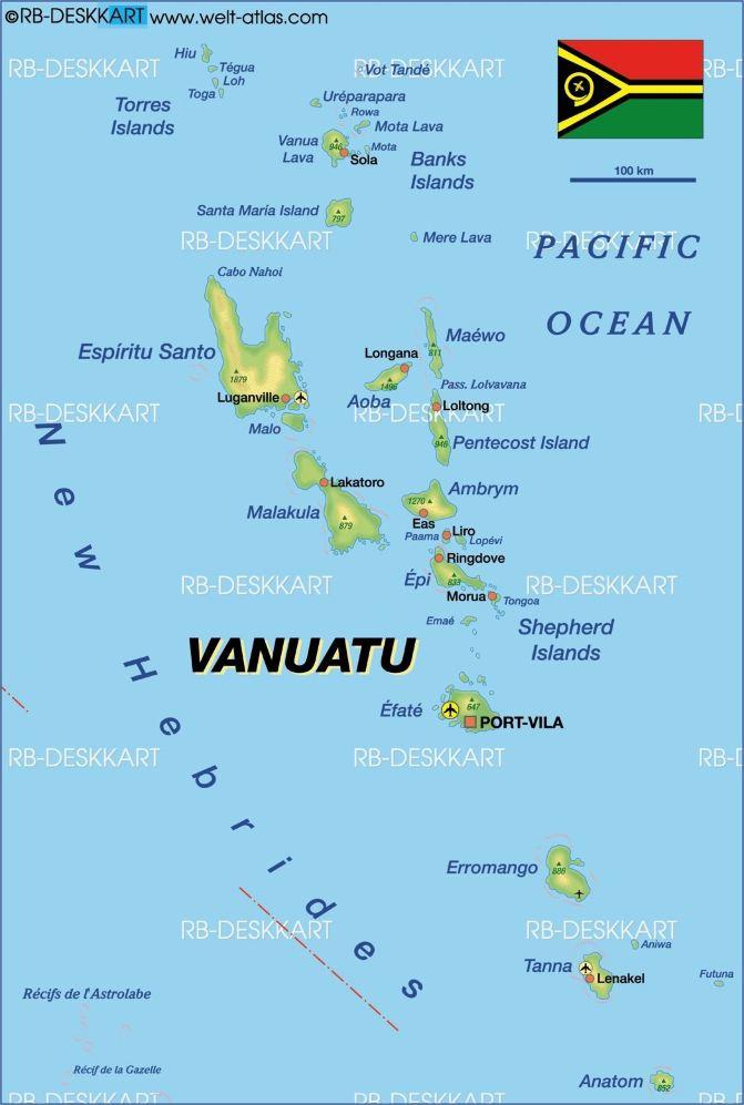 国旗和地图,一个个岛屿如同撒落在南太平洋上的珍珠