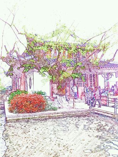 简单的手绘古街