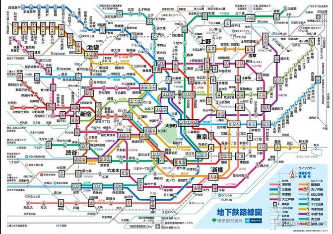 附上东京地铁线路图和jr路线图